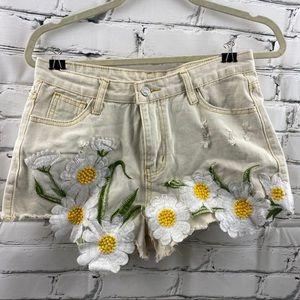 Daisy distressed Jean shorts